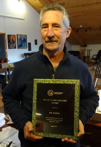 Joe Jenkins receives the H. Clark Gregory Award at the US Compost Council January 2105 Conference in austin, Texas